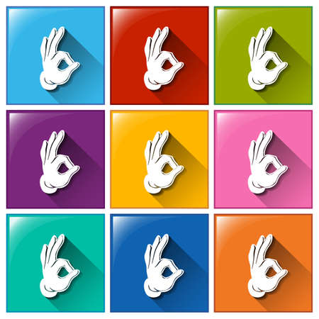 hand signs: Illustration of the buttons with hand signs on a white background
