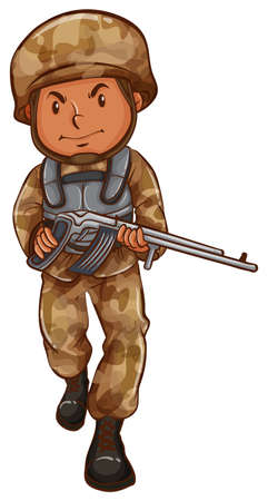 Illustration of a drawing of a soldier with a gun on a white background