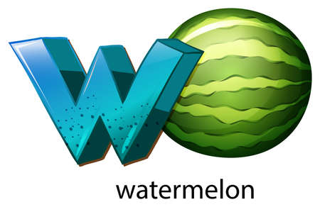 c a w: Illustration of a letter W for watermelon on a white background