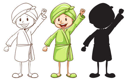 bathrobe: Illustration of a sketch of a girl after taking a bath in three colours on a white background Illustration