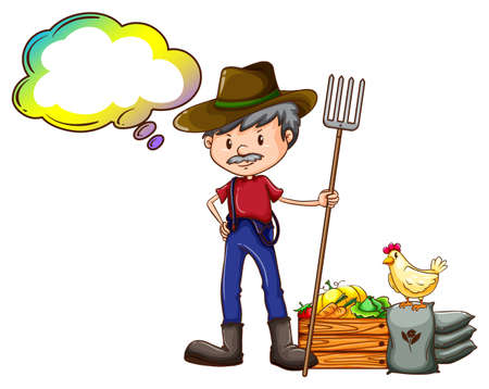 fertilizers: Illustration of a farmer holding a rake with an empty callout on a white background Illustration