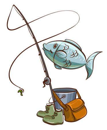 wooden bucket: Illustration of the fishing equipments on a white background