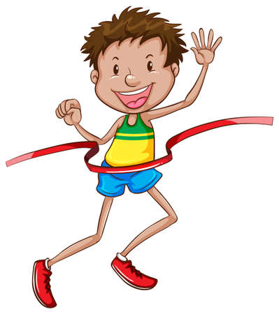 race winner: Illustration of a simple sketch of a happy winner on a white background Illustration