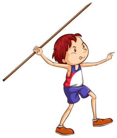 throwing: Illustration of a simple sketch of a boy throwing a stick on a white background
