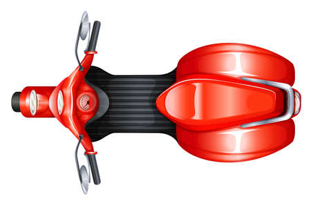 Illustration of a red scooter on a white background Vector