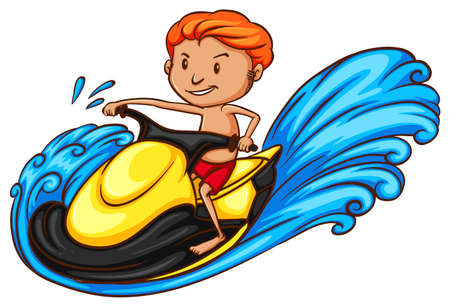 water jet: Illustration of a sketch of a boy riding a water vehicle on a white background Illustration