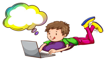computer education: Illustration of a boy using the laptop with an empty callout on a white background