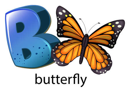 Illustration of a letter B for butterfly on a white background Illustration