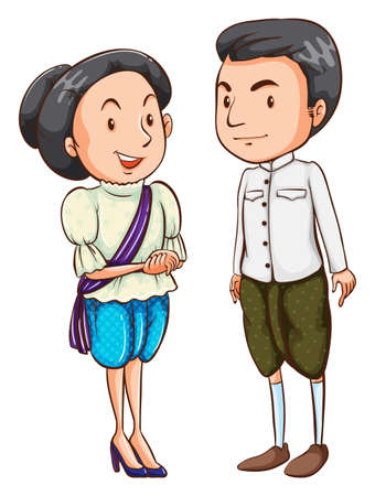 spaniards: Illustration of a couple wearing a national costume on a white background