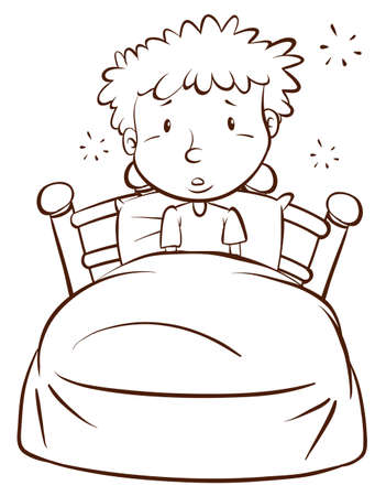 awake: Illustration of a plain sketch of a boy waking up on a white background