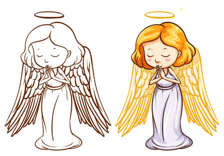 Illustration of the two sketches of an angel on a white background