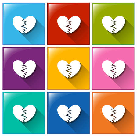 depress: Illustration of the broken heart buttons on a white background