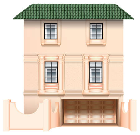 rooftop: Illustration of a big house on a white background Illustration