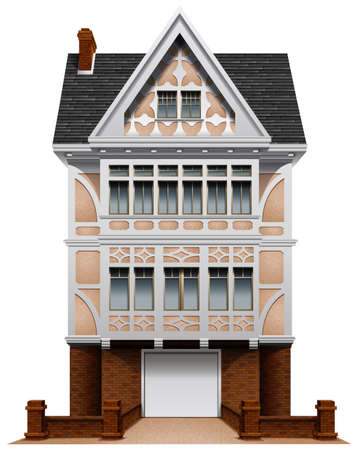 Illustration of a big concrete house with an attached garage on a white background Vector