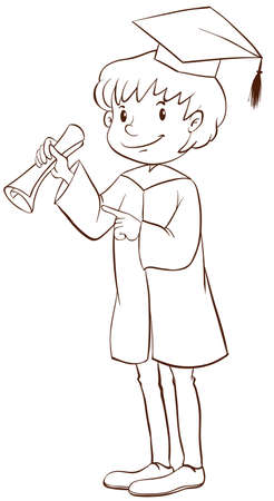 educated: Illustration of a plain drawing of a boy graduating on a white background