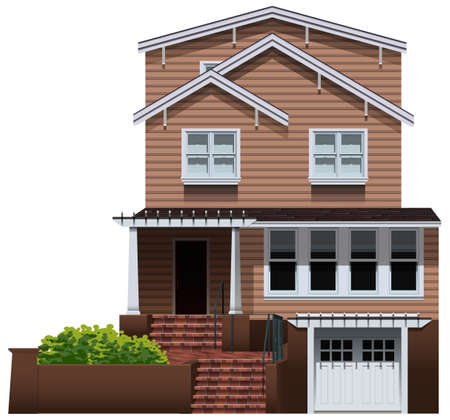 concrete stairs: Illustration of a big house on a white background Illustration