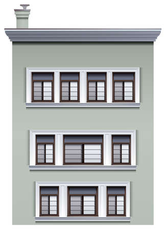 multistory: Illustration of a multi-story building on a white background Illustration