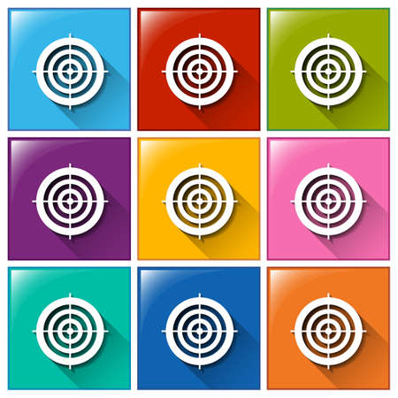 Illustration of the target buttons on a white background Vector