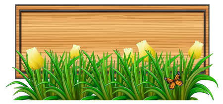 edges: Illustration of an empty wooden signboard with plants on a white background Illustration