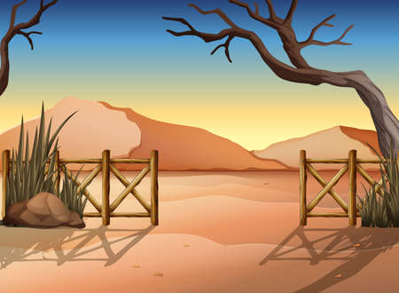 Illustration of a desert with a fence