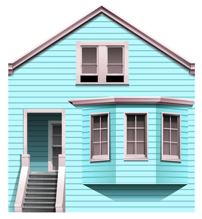 concrete stairs: Illustration of a blue concrete house with a stair on a white background Illustration