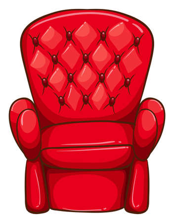 Illustration of a simple drawing of a red chair on a white background
