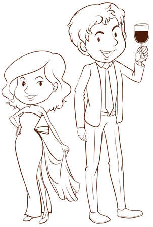 formal wear: Illustration of a plain sketch of a boy and a girl in their formal attires on a white background Illustration