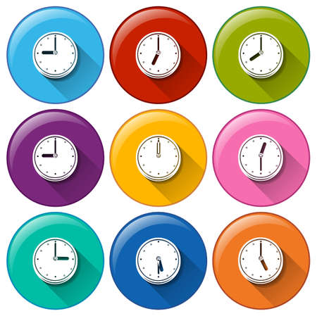timing: Illustration of the buttons with clocks on a white background Illustration