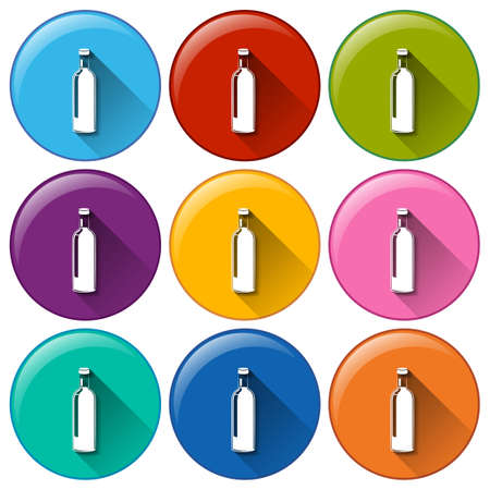 Illustration of the rounded buttons with bottles on a white background Vector