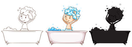 personal grooming: Illustration of the sketches of a boy taking a bath on a white background