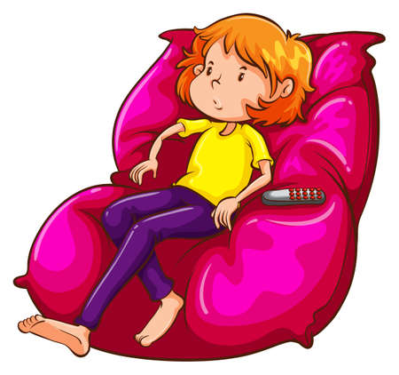 Illustration of a sketch of a lazy girl at the couch on a white background Vector