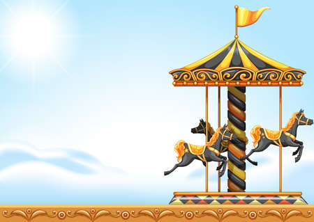 Illustration of a carousel ride Vector