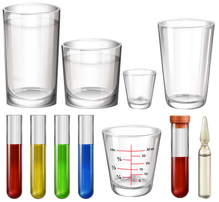 assays: Illustration of the tubes and glasses on a white background