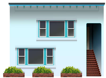 Illustration of a blue house on a white background Vector