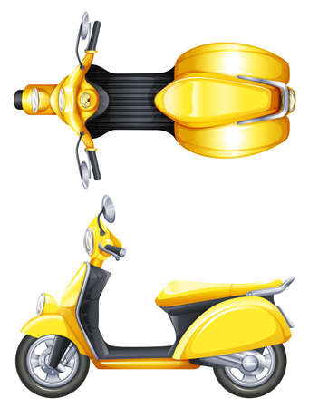 Illustration of a yellow scooter on a white background Illustration