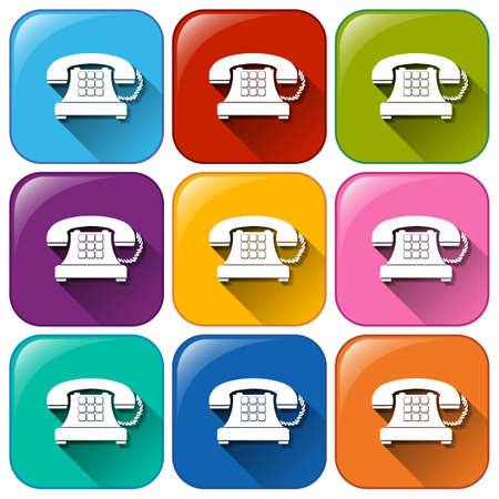 Illustration of the buttons with telephones on a white background