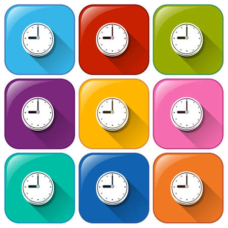 Illustration of the rounded buttons showing the wallclock on a white background Vector