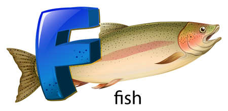 ectothermic: Illustration of a letter F for fish on a white background