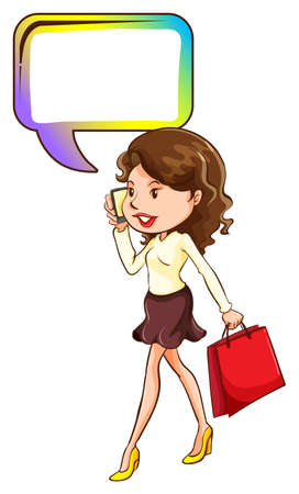 handheld device: Illustration of a woman walking while on the phone on a white background