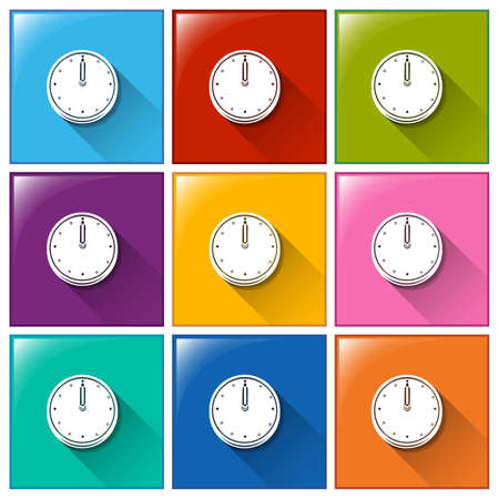 Illustration of the square buttons with clocks on a white background Vector