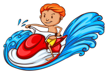 wavelengths: Illustration of a drawing of a boy enjoying the water ride on a white background