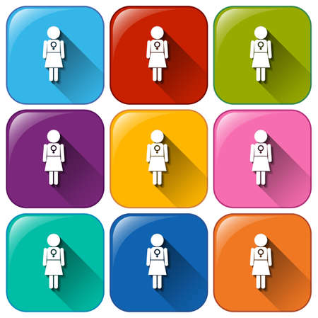 Illustration of the buttons showing a female symbol on a white background Vector