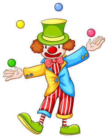 Illustration of a coloured sketch of a clown juggling on a white background
