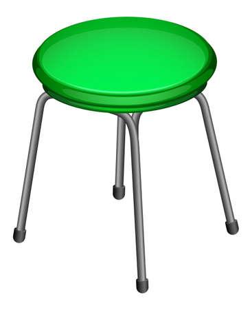 bancarella: Illustrazione di una bancarella rotondo verde su sfondo bianco