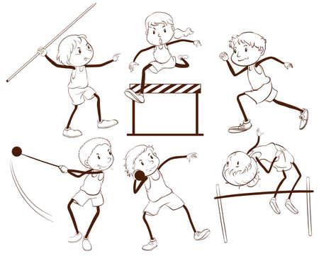 Illustrazione di un contorno semplice di ragazzi impegnati in diverse attività su uno sfondo bianco