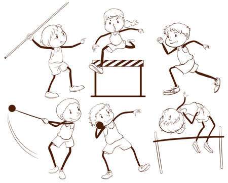 mujer deportista: Ilustración de un esquema simple de niños participando en diferentes actividades en un fondo blanco