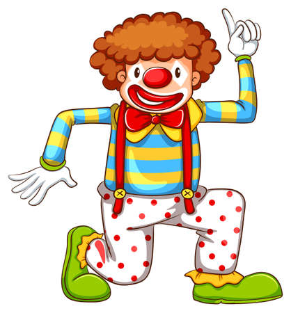 jumpsuit: Illustration of a drawing of a clown dancing on a white background Illustration