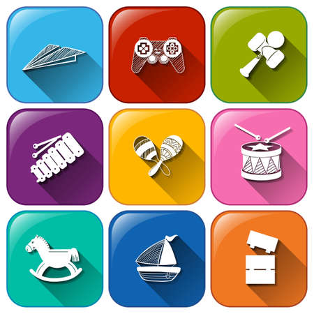 Illustration of the buttons with toys on a white background Vector