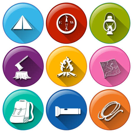 Illustration of the rounded buttons with the different materials for camping on a white background Vector