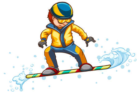 wintersport: Illustration of a drawing of a boy engaging in a wintersport activity on a white background